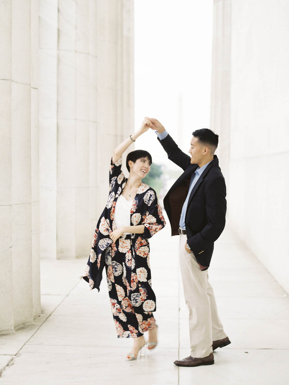 Alex Jung Kiet Nguyen engagement bride kimono outfit emily blumberg lincoln memorial georgetown
