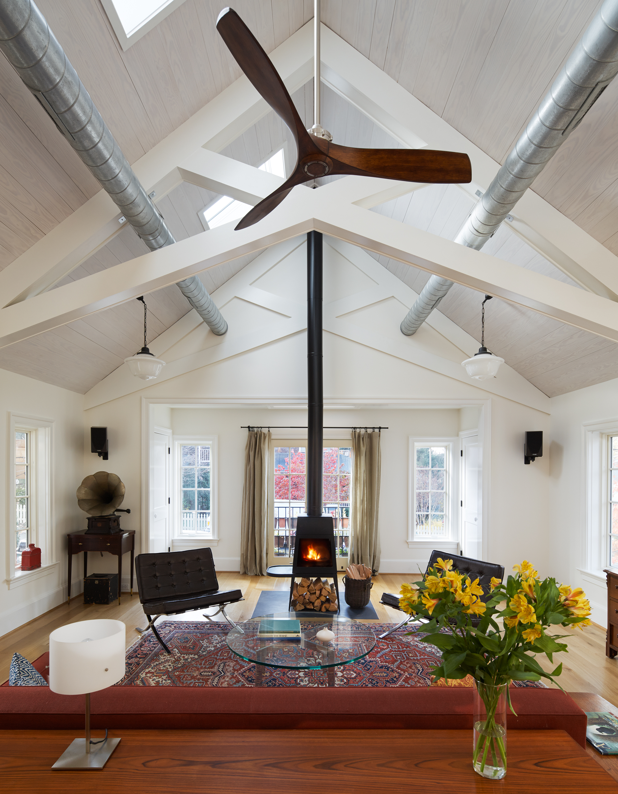 Of all the cool details, homeowner Aaron Hirsch says the Minka Aire ceiling fan draws the most compliments.