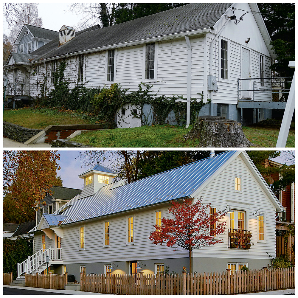 The exterior as it looks now (the bottom image), compared with its condition as a rundown church before the renovation.