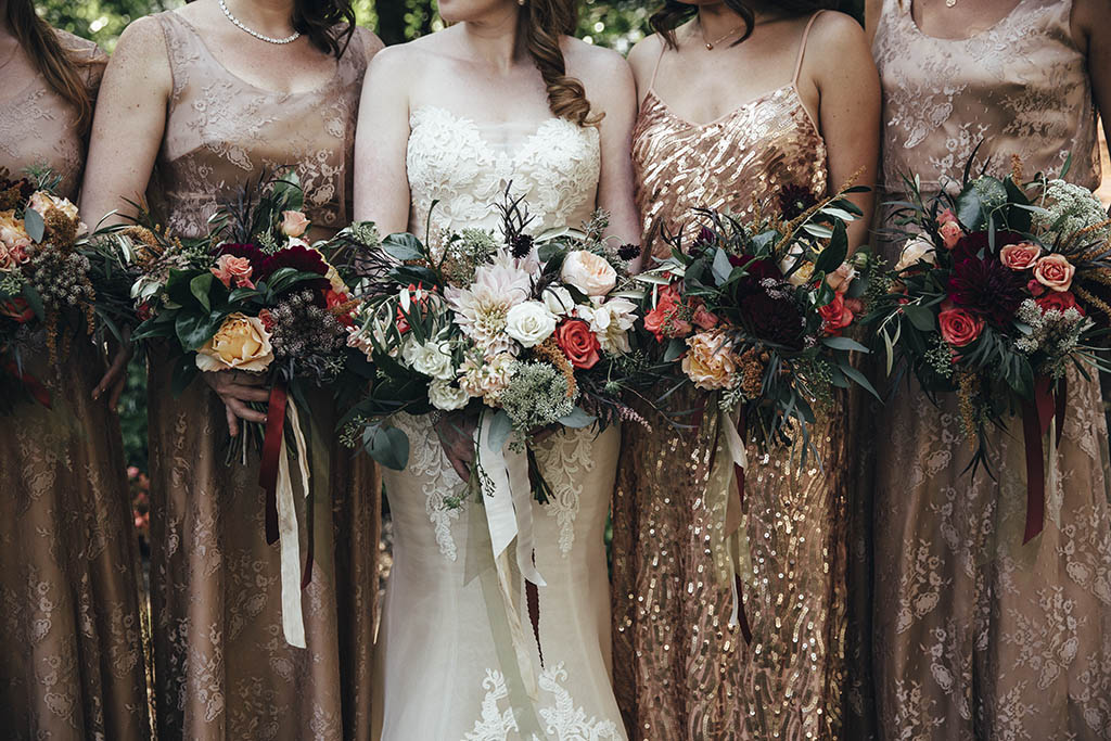 gold bridesmaids dresses boho florals boho bouquet